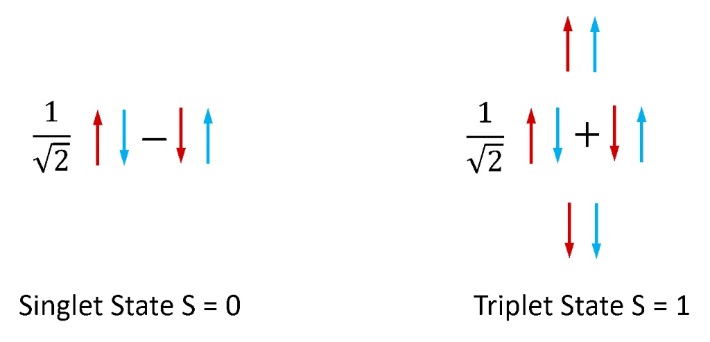 Electron Spin Configurations of the singlet and triplet states
