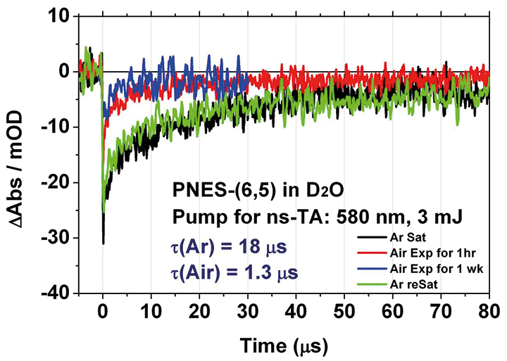 Triplet excited state emission lifetimes. visible in single walled carbon nano tubes research.