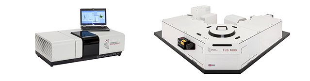 Example of a compact spectrofluorometer (FS5) and a more advanced photoluminescence spectrometer (FLS1000).