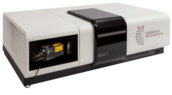 Spectrofluorometer used to investigate emission properties of organic light emitting diode