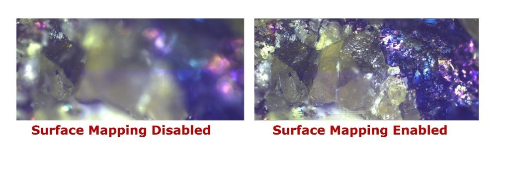 The image below shows the difference between a sample with and without surface mapping.