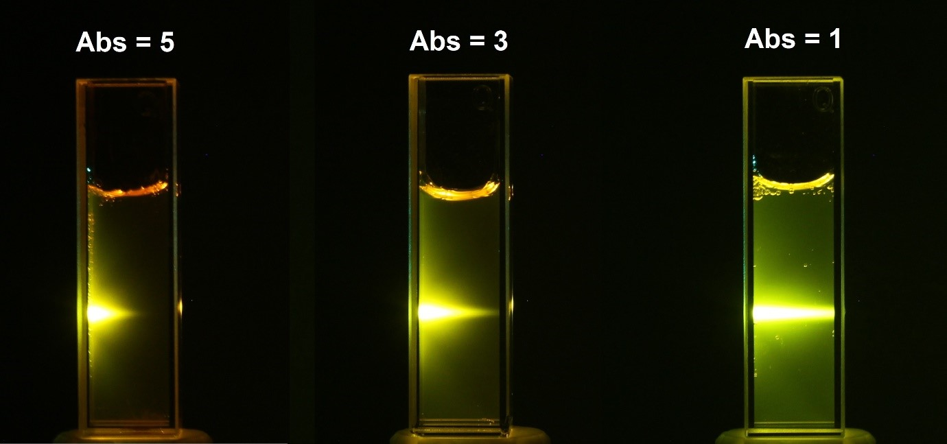 The Beer-Lambert Law: light attenuation through solutions of different absorbance