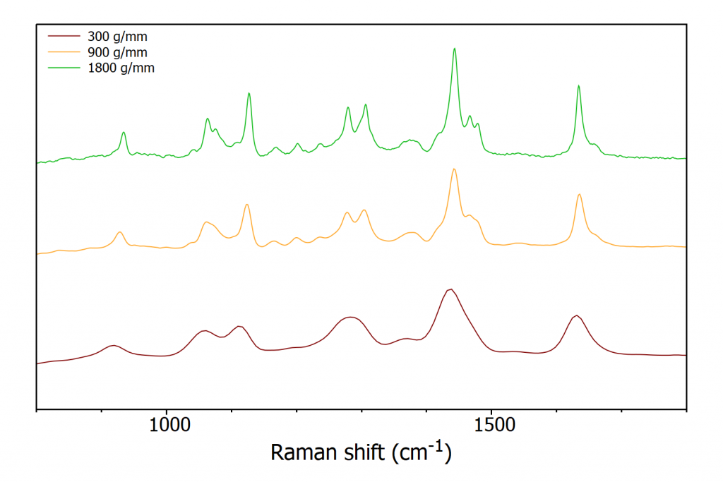 RM5 Raman microscope spectra of nylon-6 with different gratings