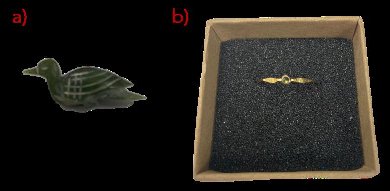 a) Small bird ornament b) ring, Gemstone Identification