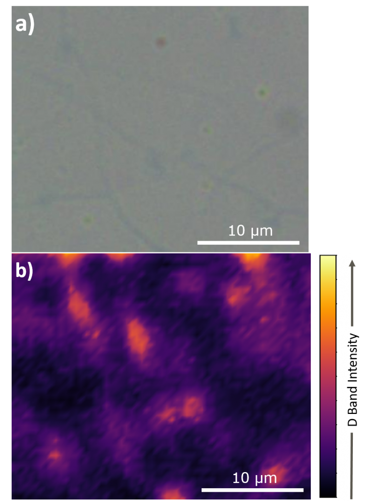 Visible image and Raman map of graphene sample highlighting defects